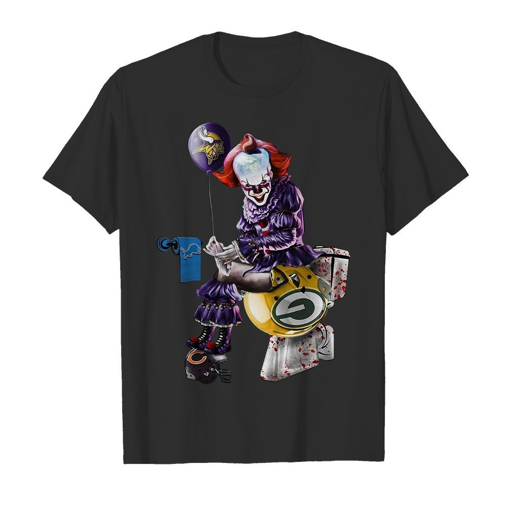 Pennywise Minnesota Vikings shit on Detroit Lions trample on Green Bay Packers helmet shirt