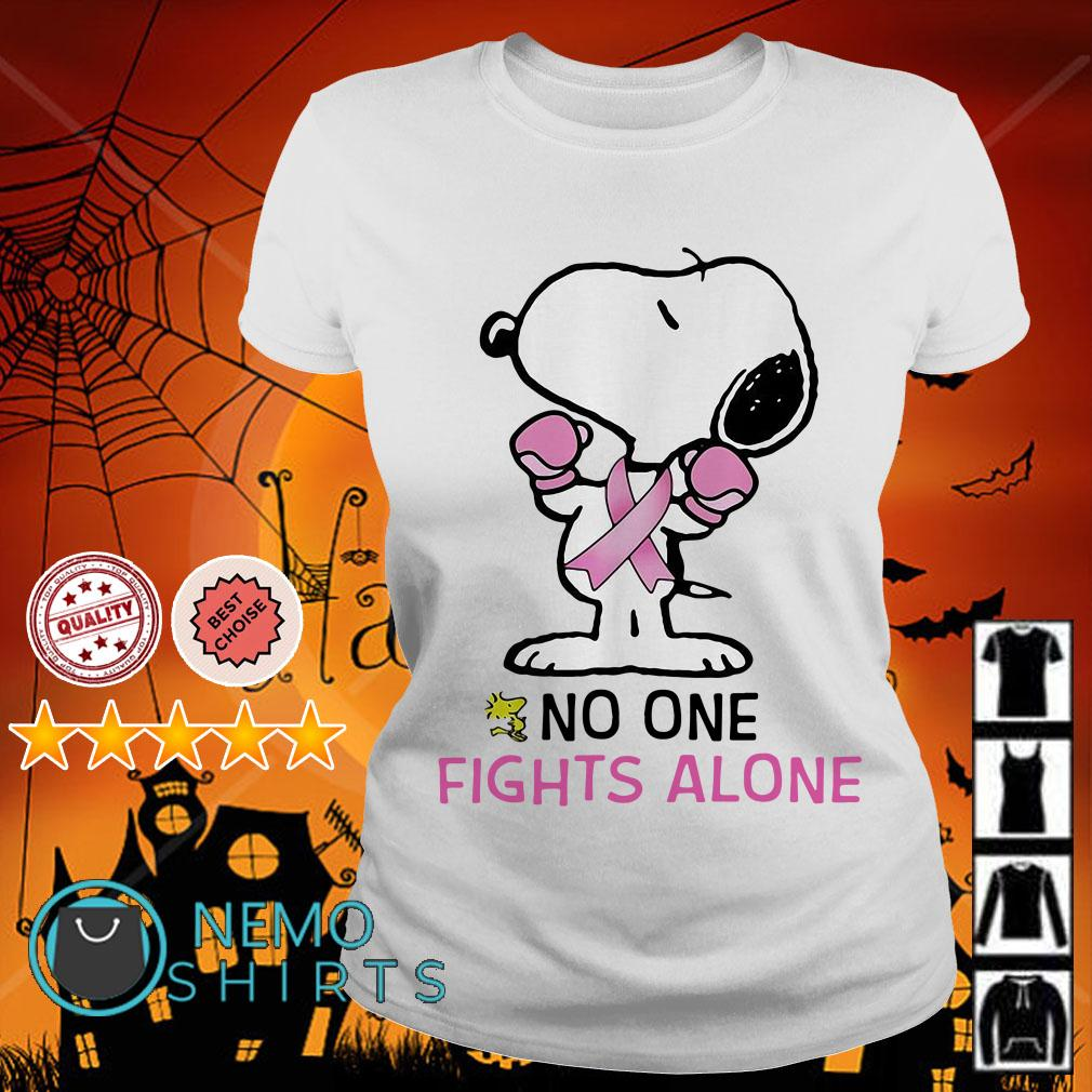 Snoopy Breast Cancer no one fights alone Ladies tee
