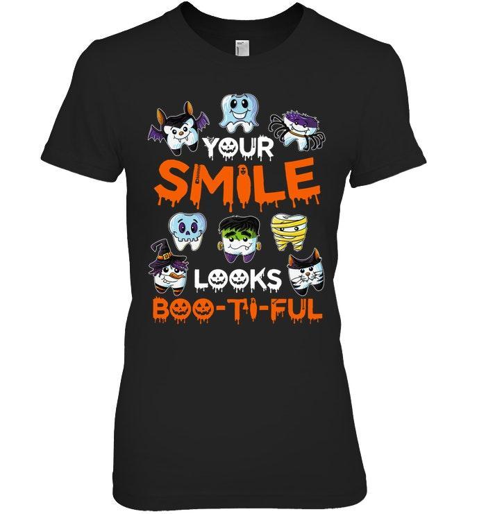 Your smile looks boo-ti-ful Halloween Ladies tee