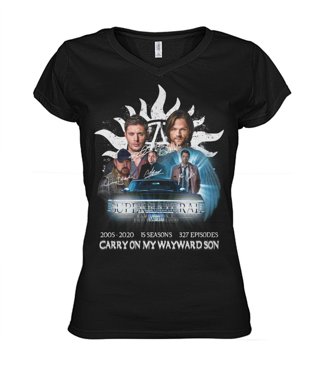 Supernatural 2005 2020 15 seasons 327 episodes Carry on my Wayward Son V-neck t-shirt