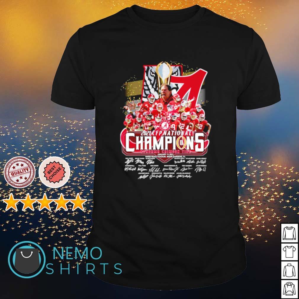 Alabama 2021 CFP national champions 18 time players signature shirt