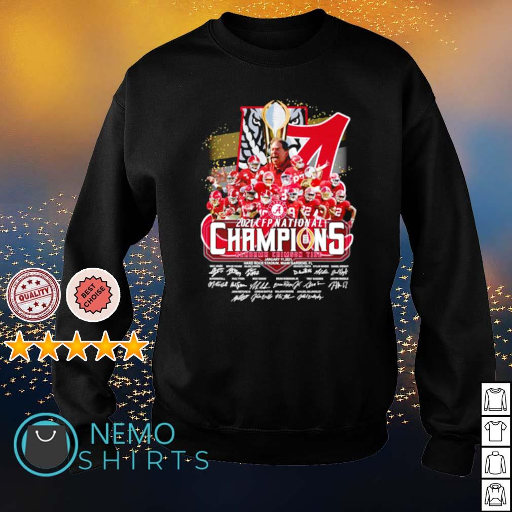Alabama 2021 CFP national champions 18 time players signature s sweater