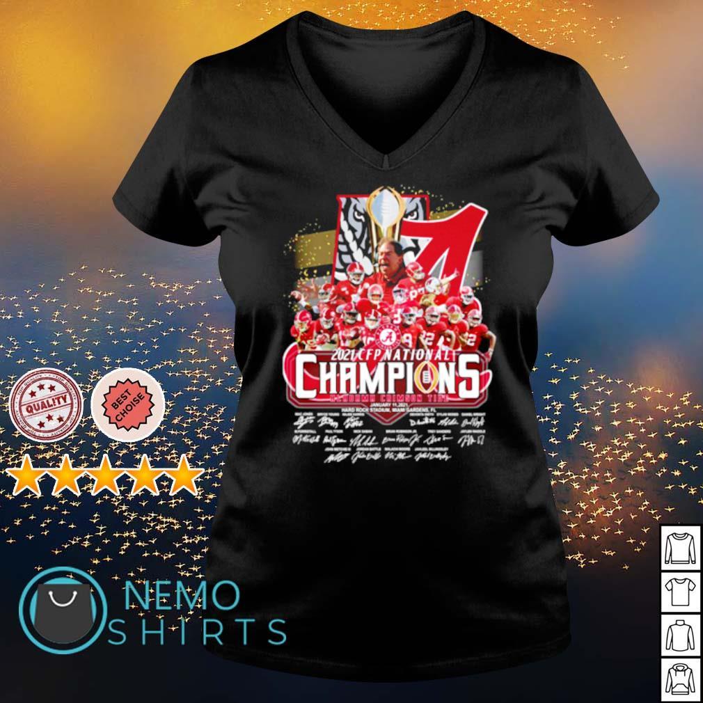 Alabama 2021 CFP national champions 18 time players signature s v-neck-t-shirt