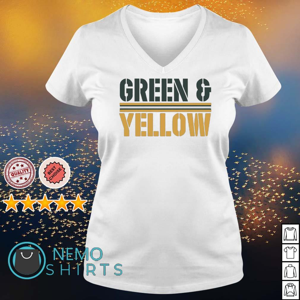 Green Bay Packers Green and Yellow s v-neck-t-shirt
