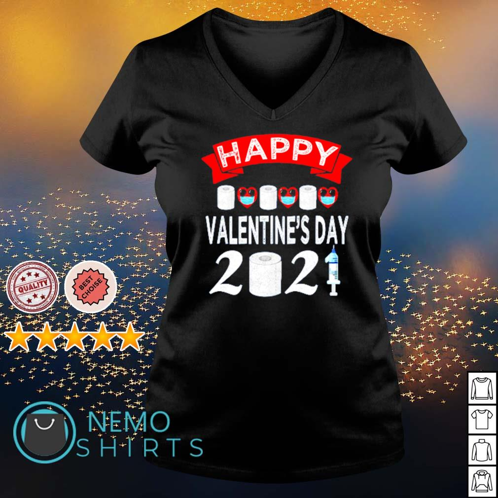 Happy Valentine's Day 2021 toilet paper quarantiend s v-neck-t-shirt
