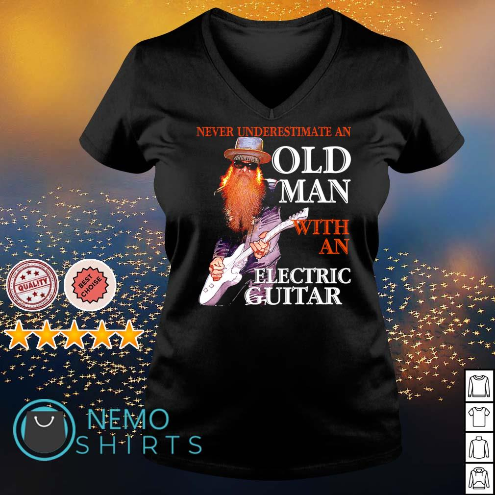 Never underestimate an old man with an Electric Guitar s v-neck-t-shirt