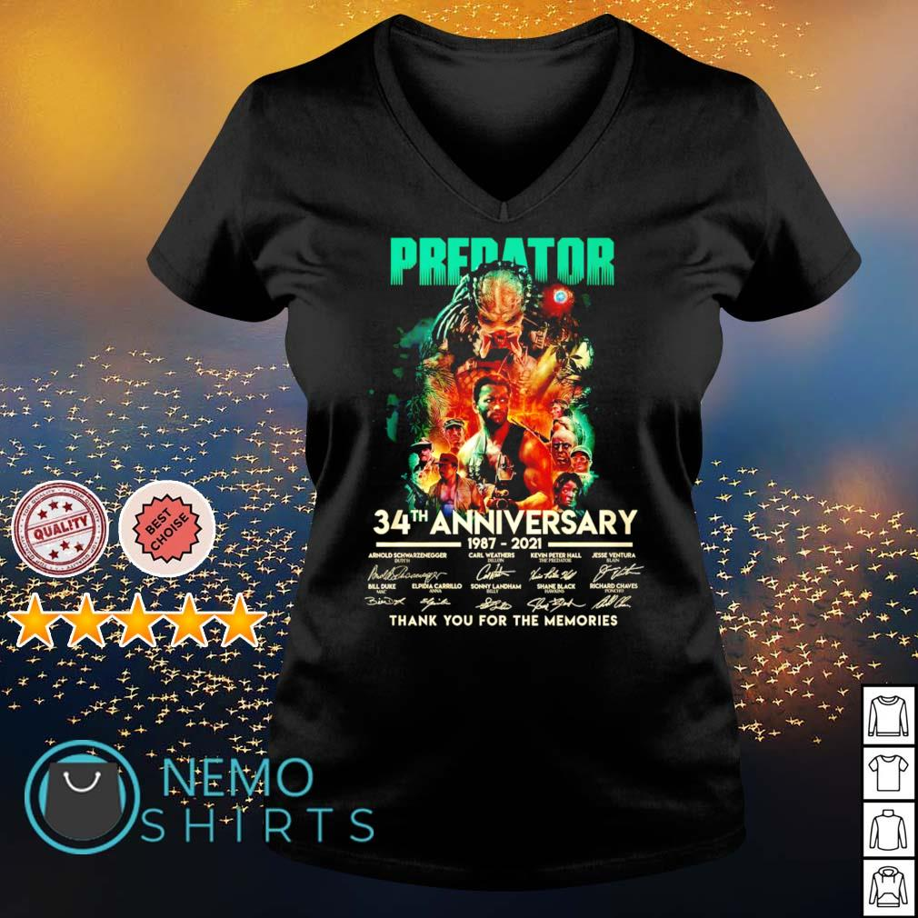 Predator 34th Anniversary 1987 2021 thank you for the memories s v-neck-t-shirt