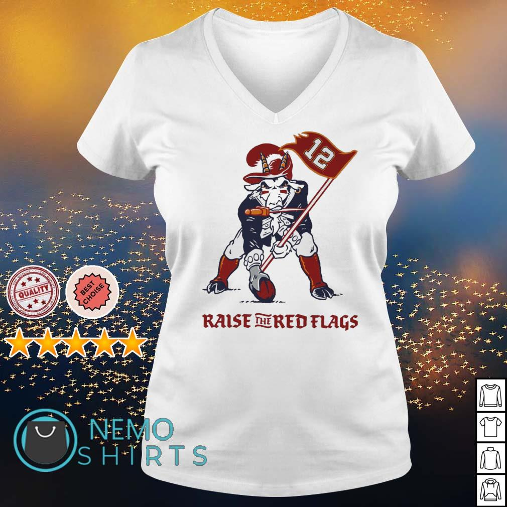 Tamba Goat Tom Brady raise the red flags s v-neck-t-shirt